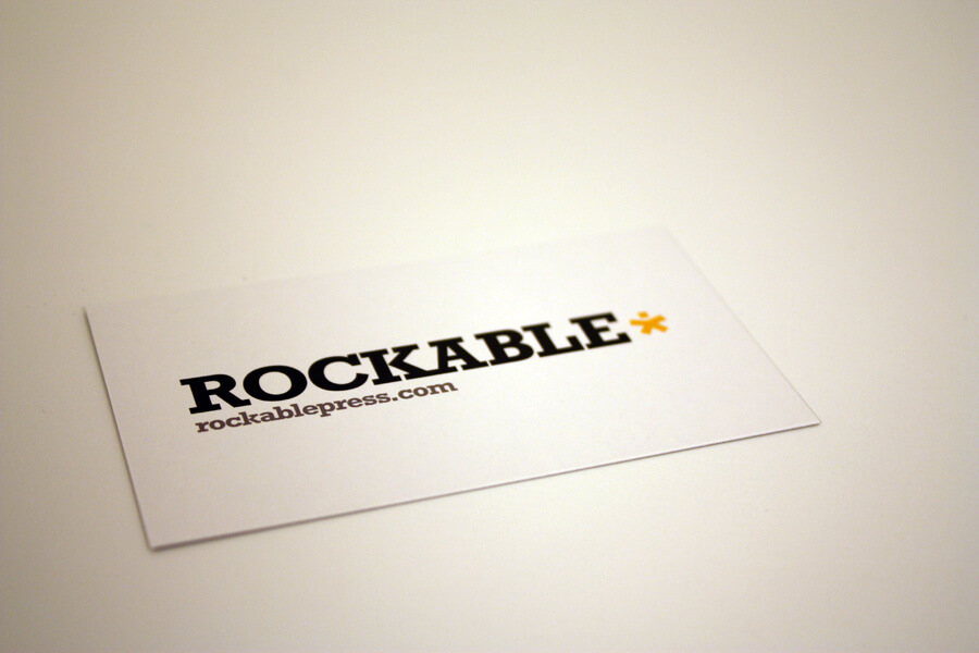 white business card on white background