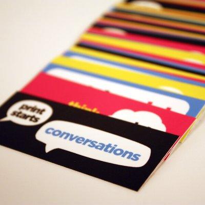 multi coloured mini cards laid out